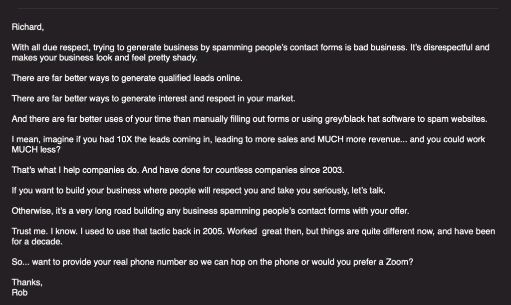 My response using some backwards email marketing.