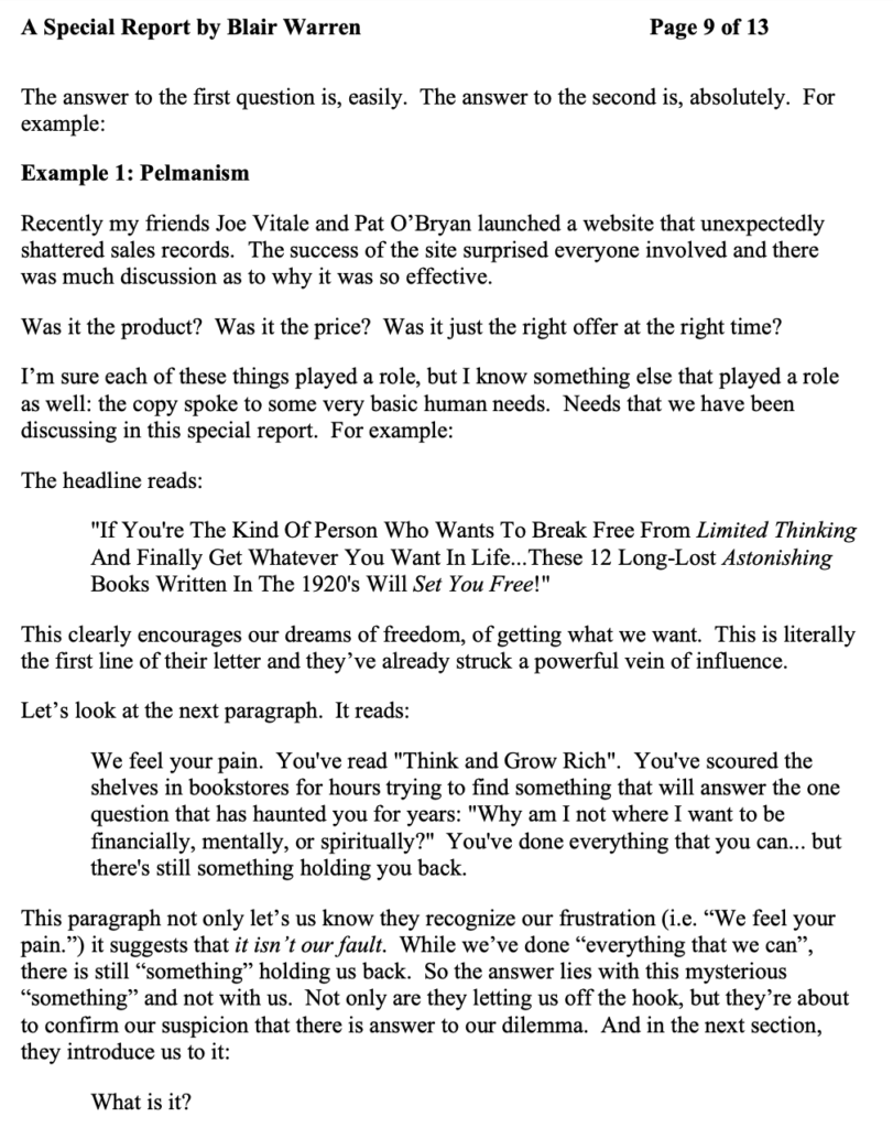 The Art of Pelmanism Salesletter was used as an example by copywriting teachers.